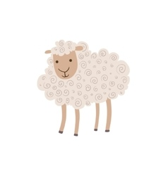 White Curly Sheep Standing vector image vector image