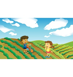 Children playing in the farm vector image
