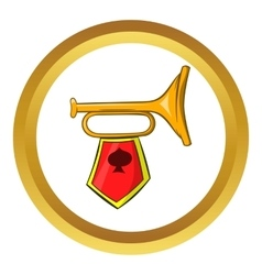 Golden trumpet icon cartoon style vector image