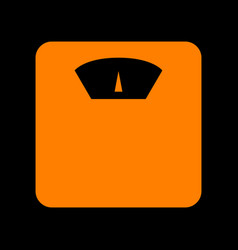 bathroom scale sign orange icon on black vector image