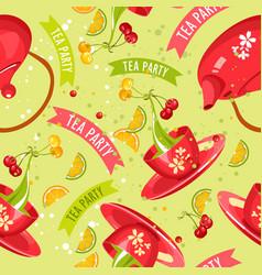 tea set seamless pattern vector image