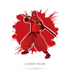 Red ninja and sword vector