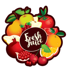 Banner fresh juice with various fruits and berries vector