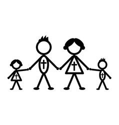 Religious stick family vector