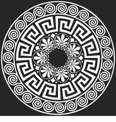 White greek ornament meander on a black background vector