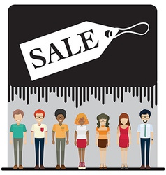 A sale tag with faceless people vector