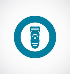 Electric shaver icon bold blue circle border vector