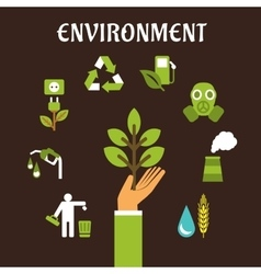 Conservation and environment flat concept vector