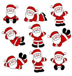 9 festive cute santa set vector