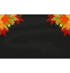 Maple leaves on black chalkboard vector image