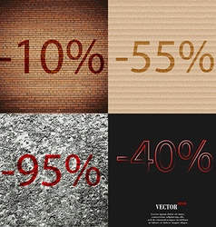 55 95 40 icon set of percent discount on abstract vector