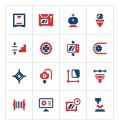 Set color icons of 3d printing vector