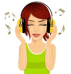 Woman enjoying the music with headphones vector