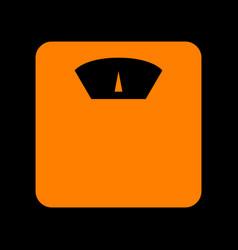 Bathroom scale sign orange icon on black vector