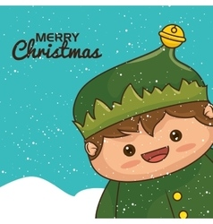 Christmas elf character kawaii style vector