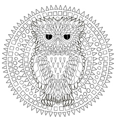 Coloring page with the owl vector image