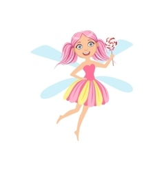 Cute Fairy With Lollypop Girly Cartoon Character vector image vector image