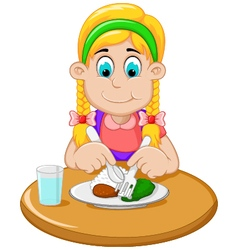 cute little girl cartoon has breakfast vector image vector image