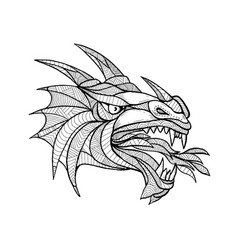 dragon head zentagle vector image vector image