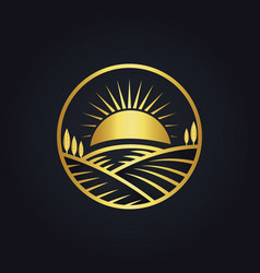 Farm nature landscape gold logo vector