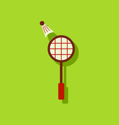 Flat icon design kids badminton in sticker style vector