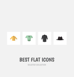 Flat icon garment set of panama casual banyan vector