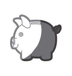 grayscale silhouette of moneybox in shape of pig vector image