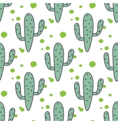 Green mint cactuses seamless pattern vector image vector image