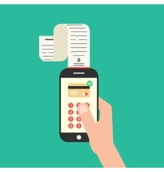 Hand holding smartphone with shopping check vector