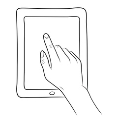 Hand touch screen on tablet pc vector
