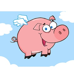 Happy pig flying in a sky vector