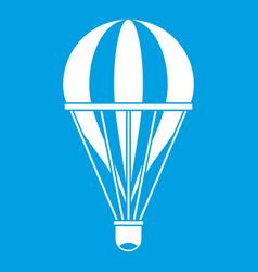 Hot air striped balloon icon white vector