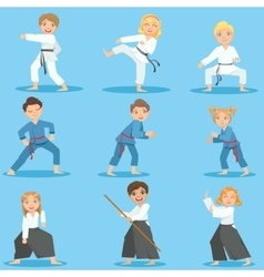 Kids on martial arts training vector