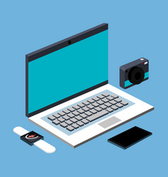 laptop computer photo camera smartwatch and vector image