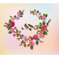 Love birds sakura spring valentines day vector
