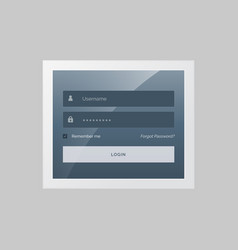 Modern login form design in gray and blue theme vector