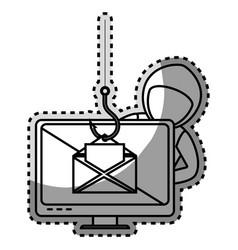 Monochrome contour sticker with hacker stealing vector
