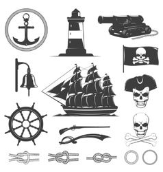 Pirates Decorative Vintage Graphic Icons Set vector image