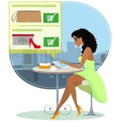 Pretty blackhair woman sitting alone in the cafe vector image vector image