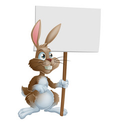 rabbit holding sign cartoon vector image vector image