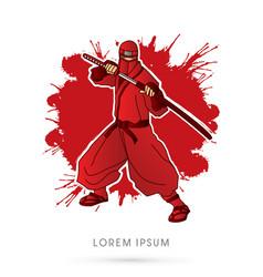Red ninja and sword vector