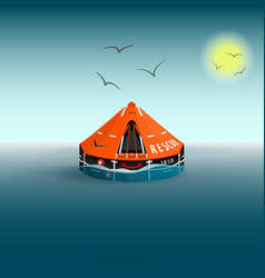 Rescue a orange raft on the sea gulls and the sun vector