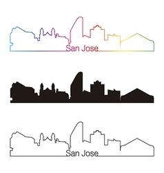 San Jose skyline linear style with rainbow vector image