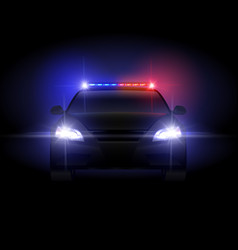 Sheriff police car at night with flashing light vector