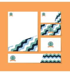 waves anchor ribbon vector image
