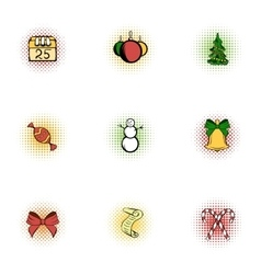 Winter holiday icons set pop-art style vector