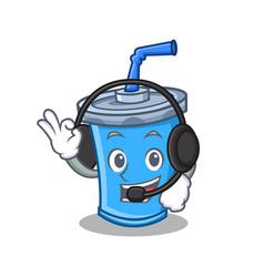 With headphone soda drink character cartoon vector