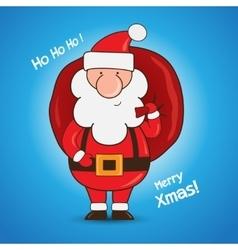 Cartoon Santa Claus holding a gift bag vector image