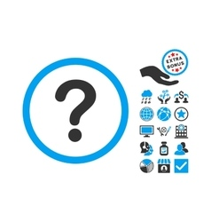 Question flat icon with bonus vector