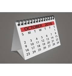 Desktop turn page calendar october 2016 vector image